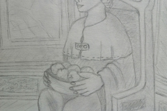 Statue of Nehalennia at the Archeon (pencil)