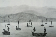 Pescatori di luna (Fishermen of the Moon) based on the photo by Raffaele Celentano (pencil)