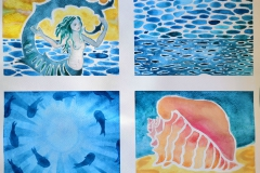 Ocean Quadriptych with mermaid, fishes, and queen conch