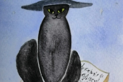 Cat with Witch Hat on Book(aquarel)